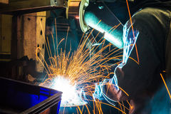 The working in Welding skill up. (Manufacturing of car) Stock Image