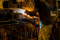 The working in Welding skill up Royalty Free Stock Photography