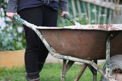 Working with a wheelbarrow Royalty Free Stock Images