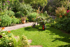 Working with wheelbarrow  in the garden. Work in summer garden in the morning with wheelbarrow, shovel and rake - horizontal Royalty Free Stock Image