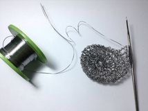 Crochet pencil holder with wire crochet technique Stock Photography