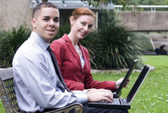 Working with Wireless in the Park Stock Photography
