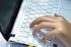 Working Woman. Close up of woman hand on the keyboard Royalty Free Stock Photos