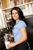 Working woman in coffee shop Royalty Free Stock Image