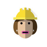 Working woman with helmet. Icon with the worker's face and helmet Royalty Free Stock Photo