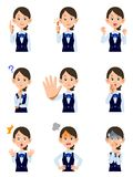 A Working woman 9 kinds of gestures and facial expressions stock illustration