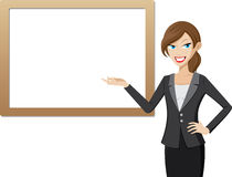 Working woman with presentation board. Illustration of working woman with presentation board Stock Photo