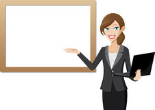 Working woman presentation with whiteboard and computer laptop. Illustration of working woman presentation with whiteboard and computer laptop Royalty Free Stock Photos
