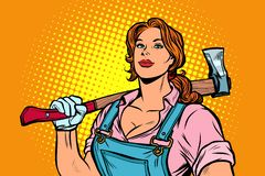 Working woman woodcutter with axe vector illustration