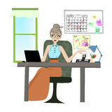 Working woman is working with her laptop on desk with telephone , stationary and files. on background have whiteboard , calendar a. Nd post it . vector graphic Royalty Free Stock Photos
