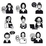 Working Women Faces Set Black and White. Set with nine avatar of cherful women working with tecnology devices as smart phones, digital tablet. and laptop Stock Images