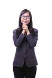 Working women glad emotion. Isolated white background stock photography