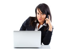Working women with mobile phone Royalty Free Stock Photo