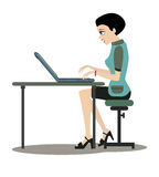 Working women. Woman working at computer desk with a white background Royalty Free Stock Photos