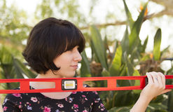 Working Women at Work. Women working on household outdoor projects and having fun Royalty Free Stock Photo