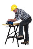 Working on a wooden board Royalty Free Stock Photography