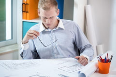 Working young architect Royalty Free Stock Image