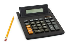 Working on your budget. A black calculator with pencil isolated on white, Working on your budget royalty free stock photo