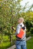 Workingman med trädgårds- spray royaltyfri foto