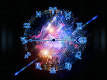 Workings of Zodiac. Interplay of Zodiac symbols, gears, lights and abstract design elements on the subject of astrology, child birth, fate, destiny, future Royalty Free Stock Images
