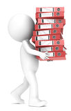 Workload. 3D little human character carrying a large pile of Ring Binders. Red. People series Royalty Free Stock Images