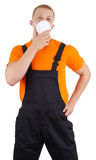 Workman. A workman with a dust mask, isolated on white Stock Image