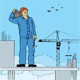 Workman. In the roof of  undeveloped building Stock Photography