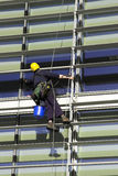 Workman Abseiling a Building. A workman abseiling a corporate building stock photos