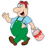 Workman Carrying Paint Pot. Happy painter and decorator cartoon character walking to his next job holding a pot of red paint. Paint brush stuck down his overalls Royalty Free Stock Photos