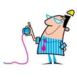 Workman cartoon illustration. Cartoon illustration of a workman using a tape measure, wearing hard hat Stock Images