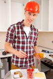 Workman dines Royalty Free Stock Image