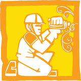 Workman with Drill. Icon in a woodcut style of a workman with a drill Stock Image