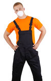 A workman with a dust mask Royalty Free Stock Photo