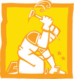 Workman with Hammer. Icon in a woodcut style of a workman with a hammer Royalty Free Stock Photos