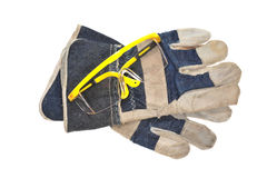 Workman Hand Gloves And Goggles Royalty Free Stock Photography