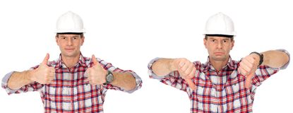 Workman happy and sad. Workman with thumbs up and thumbs down Royalty Free Stock Photo