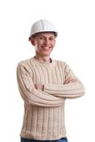 Workman in helmet. On white background Stock Photography