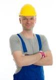 Workman with helmet Stock Images