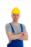 Workman with helmet Stock Photo