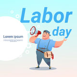 Workman Hold Megaphone International Labor Day Celebration May Holiday Greeting Card. Flat Vector Illustration Stock Image