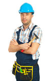 Workman holding hammer Royalty Free Stock Photo
