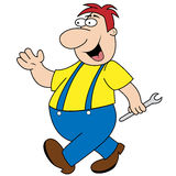 Workman Holding Spanner Cartoon Character. Cheerful plumber, builder or mechanic cartoon character walking to his next job, spanner in hand stock illustration