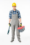 Workman holding tool kit Royalty Free Stock Images