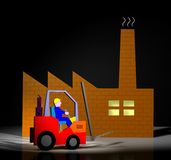 Workman and industry. Forklift helmet worker repairman Royalty Free Stock Photography