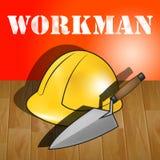 Workman Laborer Representing Building Worker 3d Illustration. Workman Laborer Builders Hat Representing Building Worker 3d Illustration Royalty Free Stock Images