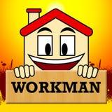 Workman Laborer Shows Building Worker 3d Illustration. Workman Laborer Showing Building Worker 3d Illustration Stock Images