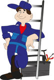 Workman with ladder looks Royalty Free Stock Photo