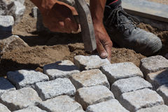 Free Workman Laying Cobbles Stock Photography - 20133432