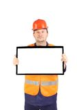 Workman with lcd monitor. Royalty Free Stock Photography
