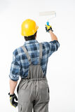 Workman with paint roller Royalty Free Stock Photography